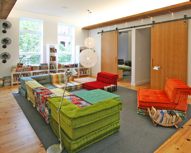 Modular Couch Kids Contemporary with Area Rug Barn Door