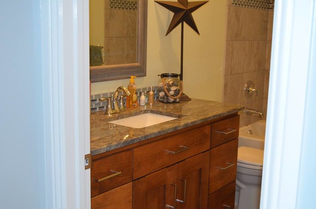Moen Eva Bathroom Traditional with Arabescato Granite Countertop Bathroom