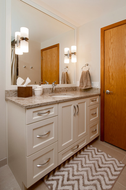 Moen Eva Bathroom Transitional with Alabaster Painted Cabinet Bellmont