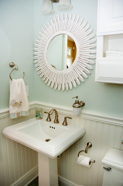 moen eva Powder Room Beach with bathroom bathroom mirror beadboard