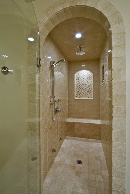 moen shower Bathroom Traditional with arched doorway glass shower