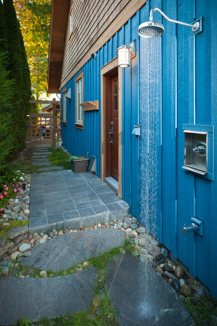 Moen Shower Patio Traditional with Blue Siding Charming Cottage