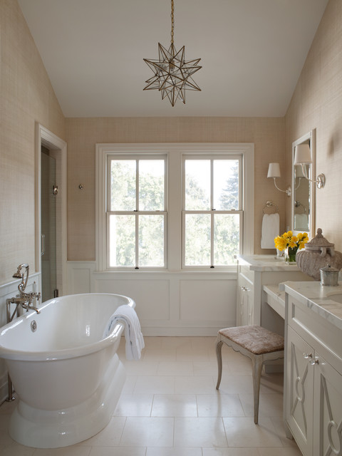 Moravian Star Light Bathroom Traditional with 2 Over 2 Windows