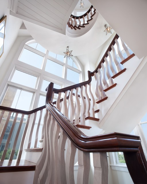 Moravian Star Light Staircase Beach with Arched Window Banister Beach