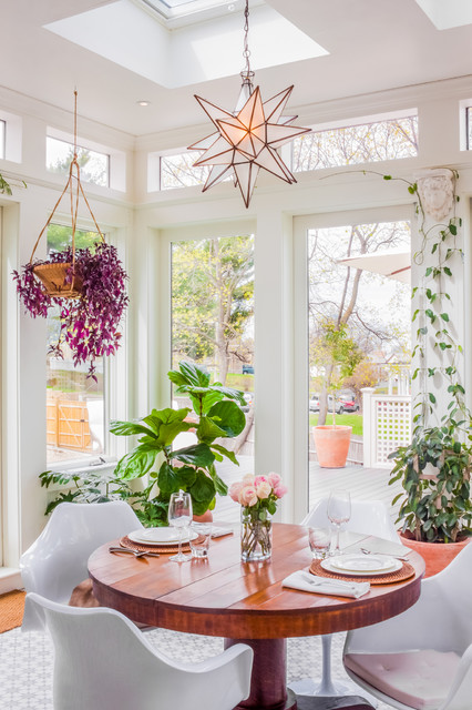 Moravian Star Light Sunroom Transitional with Bohemian Boho Conservatory Greenhouse
