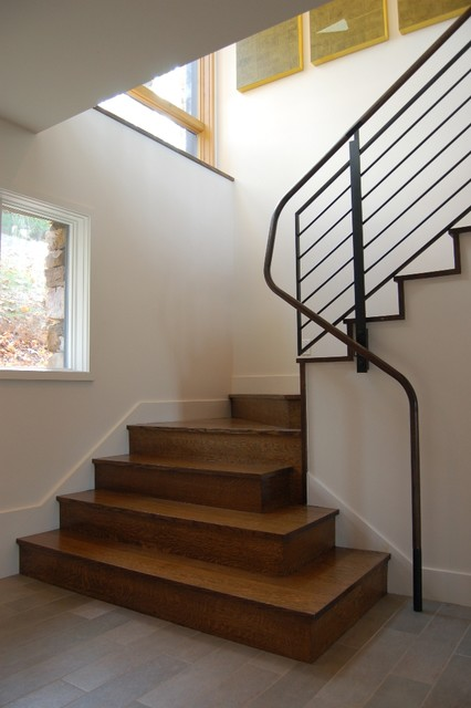 Morton Building Homes Staircase Modern with Appalachian Mountains Artwork Asheville
