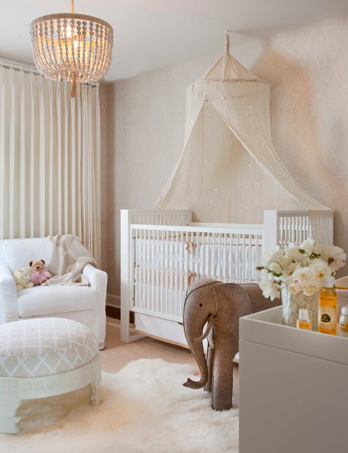 Mosquito Net Canopy Nursery Transitional with Baby Room Beaded Chandelier