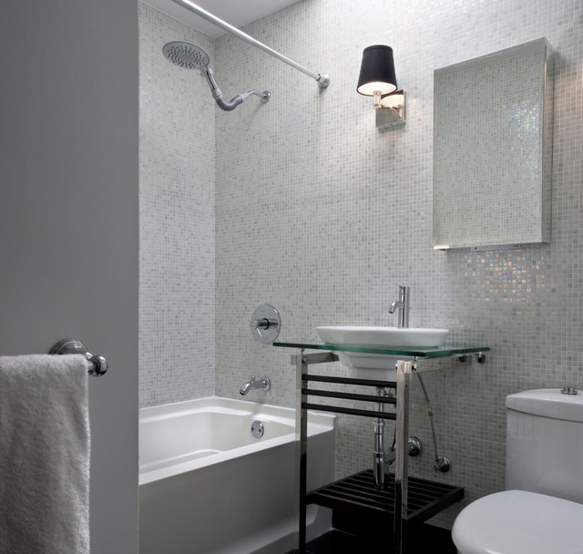 Mother of Pearl Tile Bathroom Contemporary with Console Sink Glass Tile