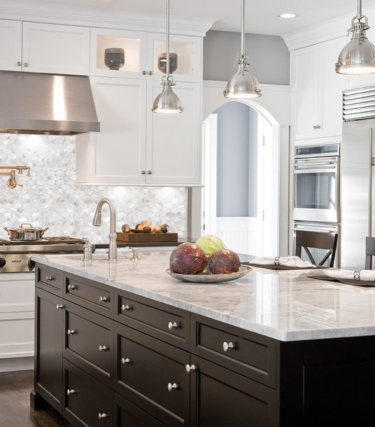 Mother of Pearl Tile Kitchen Traditional with Mother of Pearl Backsplash