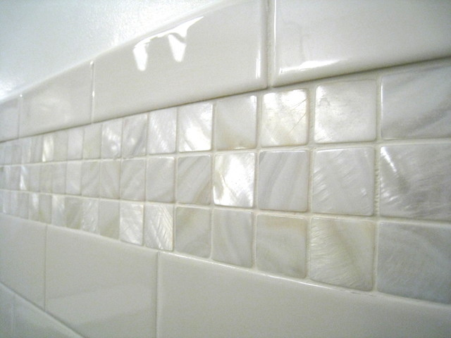 Mother of Pearl Tile Spaces Beach with Accent Tile Basement Powder1