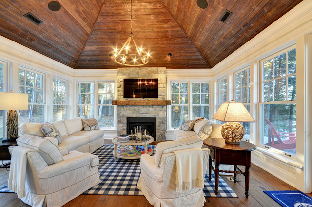 Mounting Tv Above Fireplace Family Room Rustic with Beige Sofa Blue Gingham1
