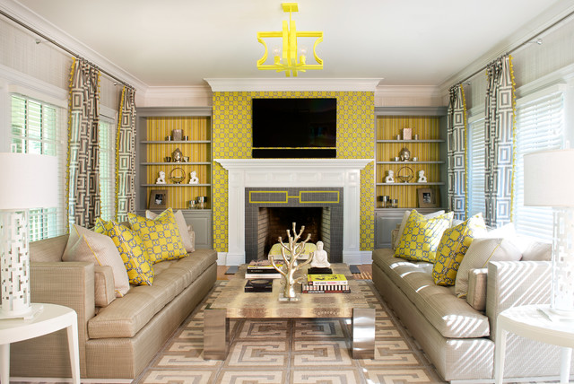 Mounting Tv Above Fireplace Living Room Contemporary with Beige Sofas Gray And