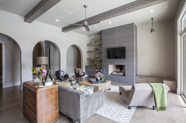 Mounting Tv Above Fireplace Living Room Mediterranean with Arched Doorways Black Leather