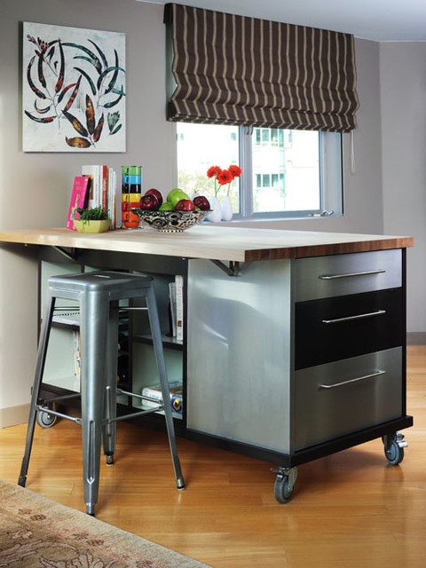 Movable Kitchen Island Kitchen Contemporary with Brown Butcher Block Castor
