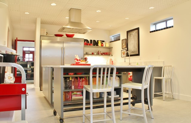 Movable Kitchen Island Kitchen Industrial with Casters Ceiling Treatment Concrete