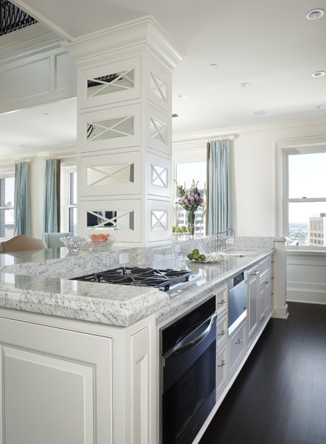 msi granite Kitchen Transitional with Cabinetry city view crown