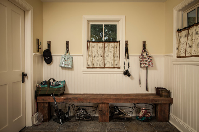 Mudroom Bench Entry Farmhouse with Beige Beadboard Beige Door