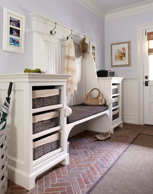 Mudroom Bench Entry Traditional with Basket Storage Beadboard Bench