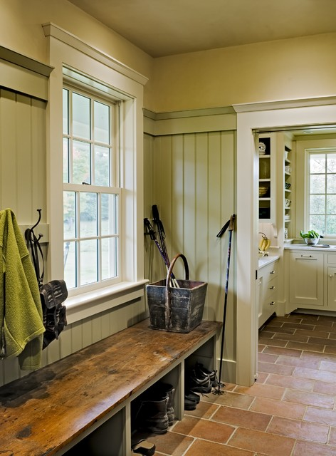 Mudroom Bench Entry Traditional with Country Door Casing Entry