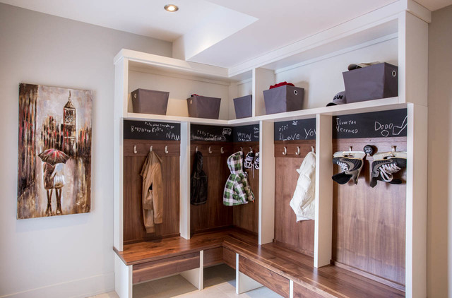 Mudroom Lockers Entry Contemporary with Artwork Backhall Benjamin Moore
