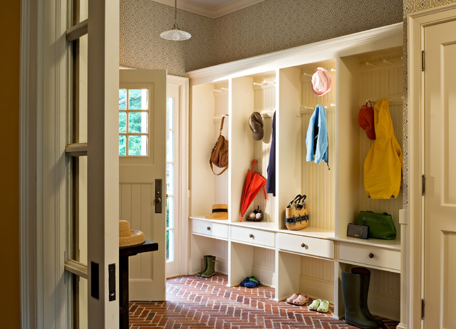 Mudroom Lockers Entry Farmhouse with Accessory Room Addition Beadboard
