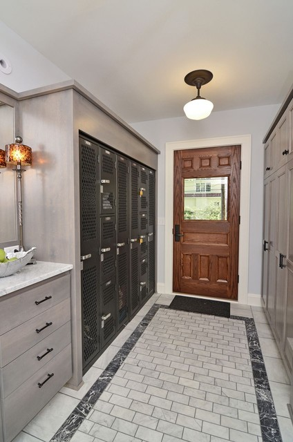 Mudroom Lockers Entry Traditional with Back Door Baseboards Built In