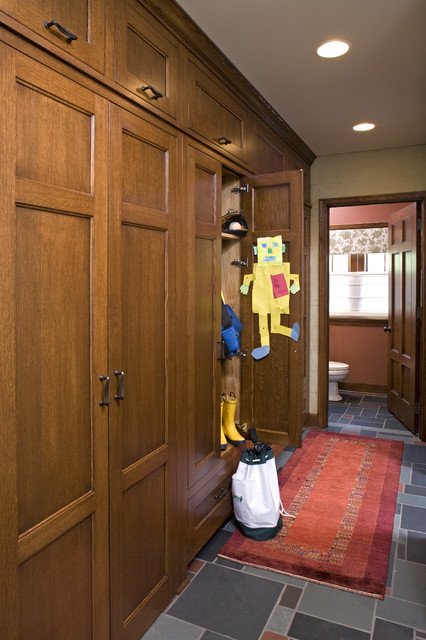Mudroom Lockers Entry Traditional with Carpet Runner Custom Woodwork