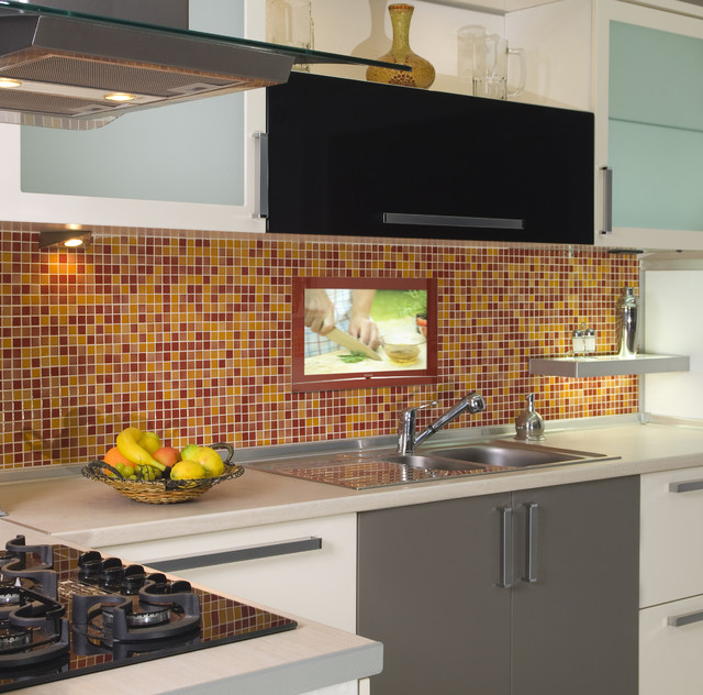 multi device charging station Kitchen Contemporary with 1 tile backsplash burgundy