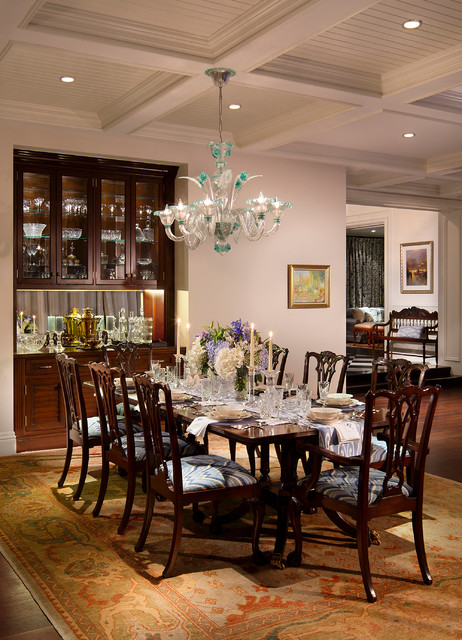 Murano Glass Chandelier Dining Room Traditional with Bar Beadboard Ceiling British