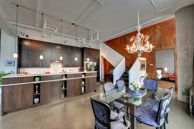 murano glass chandelier Kitchen Industrial with accent wall concrete floor