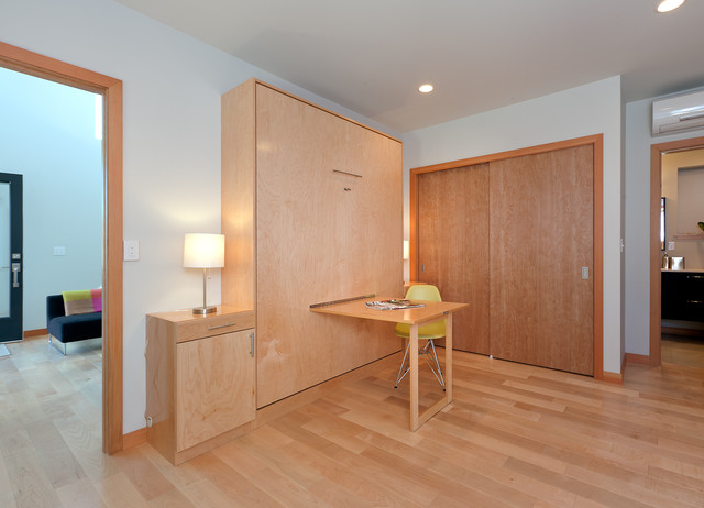 murphy bed desk Bedroom Modern with bedside table blue ceiling