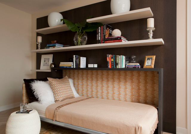 Murphy Bed Hardware Bedroom Contemporary with Accent Table Bedding Books