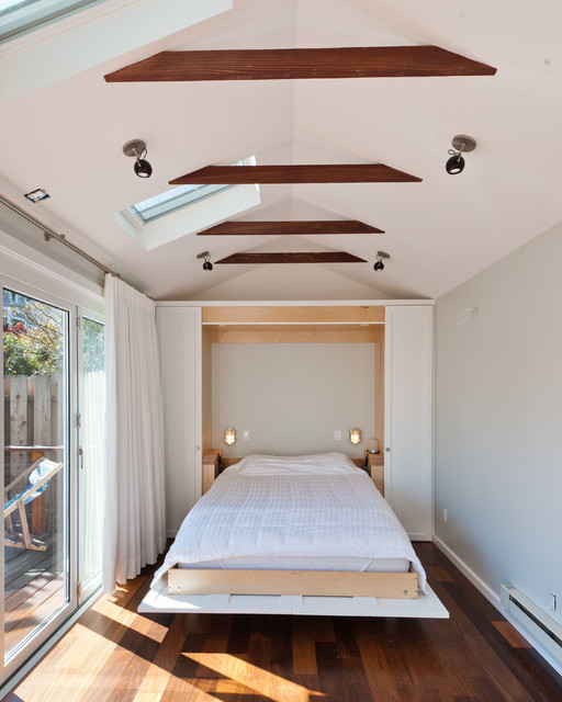 Murphy Bed Hardware Bedroom Contemporary with Beams Ceiling Lighting Deck