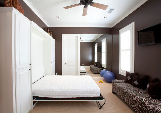 Murphy Bed Hardware Bedroom Traditional with Beige Carpet Brown Wall