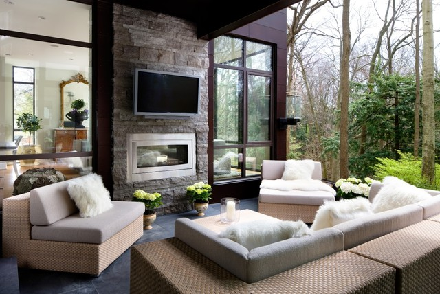 Napoleon Fireplaces Deck Transitional with Fur Cushions Fur Throw