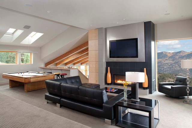 Napoleon Fireplaces Family Room Contemporary with Addition Black Sectional Sofa