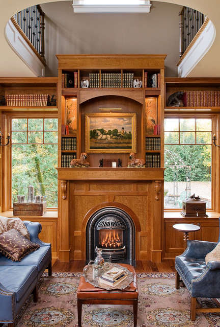 Napoleon Fireplaces Home Office Victorian with Arched Fireplace Blue Sofa