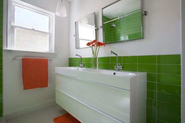 Narrow Bathroom Vanities Bathroom Contemporary with Glass Tile Green Tile