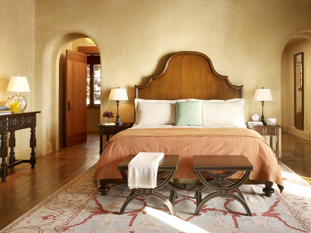 Narrow Bedside Table Bedroom Mediterranean with Arch Doorway Beige Wall