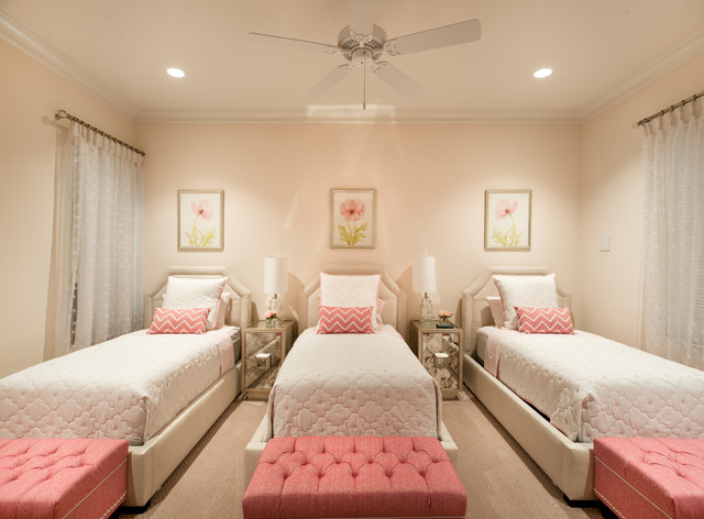 Narrow Bedside Table Bedroom Transitional with Ceiling Fan Curtains Feminine1