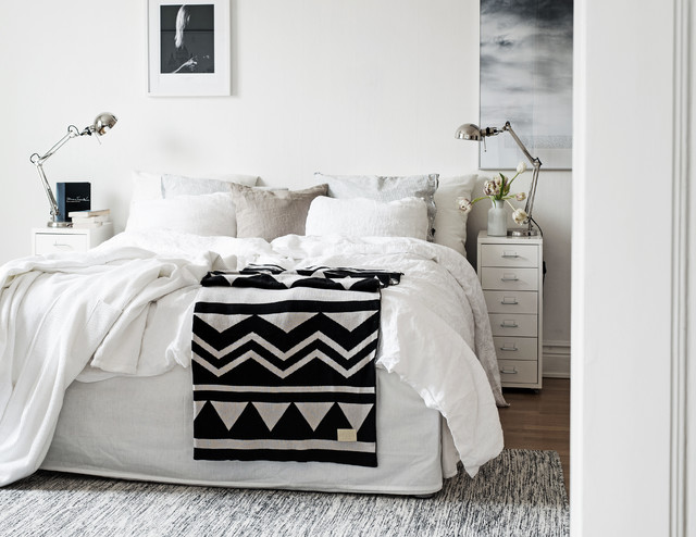 Narrow Bedside Table Spaces Scandinavian with Artwork Prints Black And