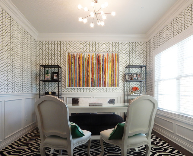 Narrow Bookcase Home Office Transitional with Black and White Geometric