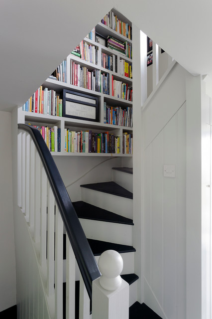 Narrow Bookcase Staircase Farmhouse with Bespoke Interior Black Stair