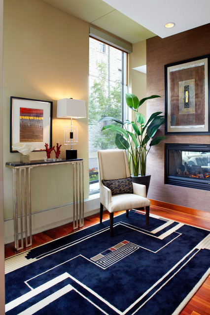 Narrow Console Table Entry Contemporary with Accent Wall Area Rug