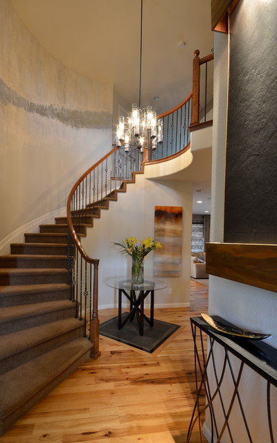Narrow Console Table Staircase Traditional with Carpeted Staircase Carpeted Stairs