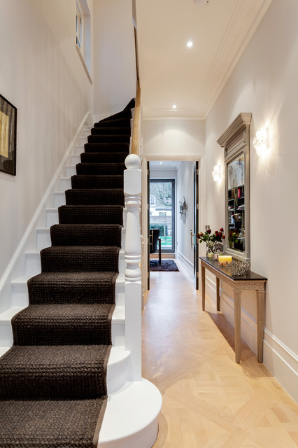 Narrow Console Table Staircase Victorian with Black Stair Runner Build
