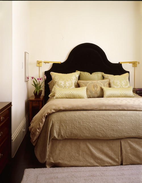 Narrow Nightstand Bedroom Traditional with Baseboard Bedside Table Bedskirt