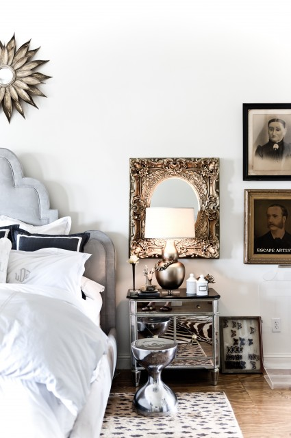 Narrow Nightstand Bedroom Transitional with Antique Photographs Bedside Table