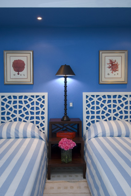 Narrow Nightstand Bedroom Tropical with Bedside Table Blue Wall