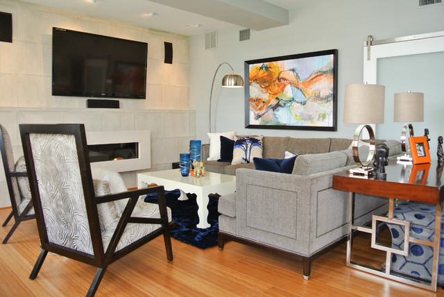Navy Area Rug Living Room Contemporary with Beige Tile Wall Blue
